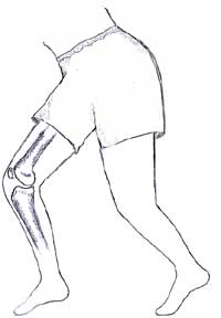 man showing position of knee bones from the side
