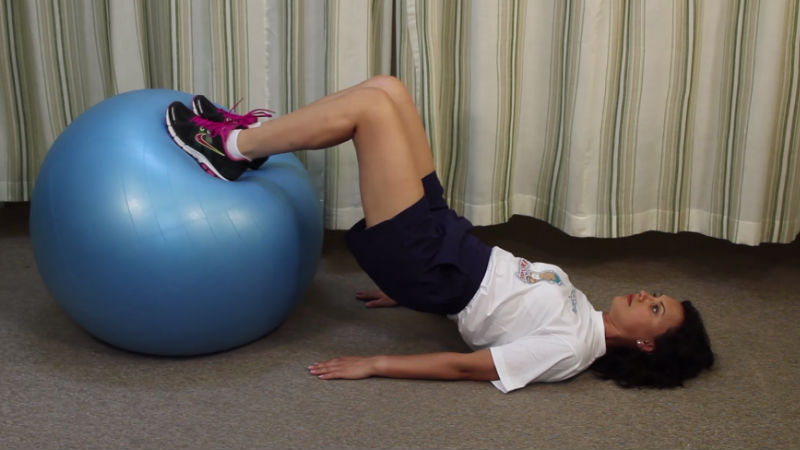 hamstrings curl with Swiss ball